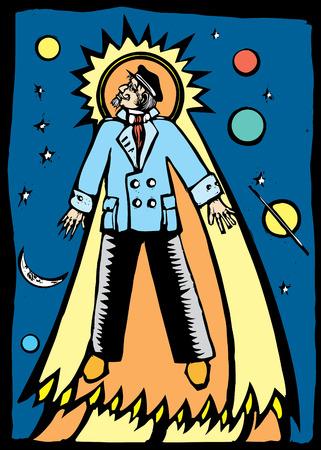 キャプテンのスーツを着た男が天に向かって します。