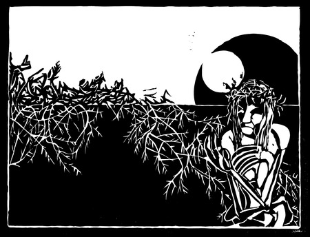 Woodcut stylization of Jesus Christ with crown of thorns. Vector