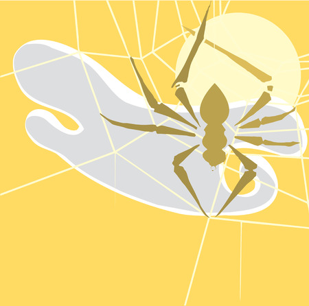 Small spider in shadow spinning its web.   Vector