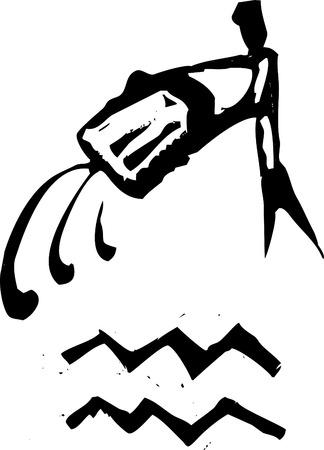 Primitive woodcut style zodiac sign of Aquarius. Part of a series.