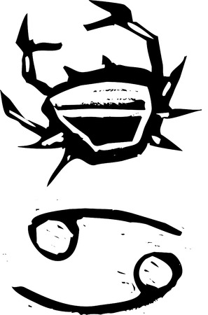Primitive woodcut style zodiac sign of Cancer. Part of a series. Vector