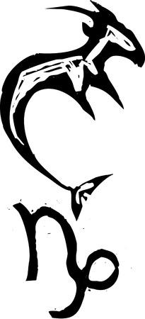 carve: Madera de estilo primitivo signo del zodiaco de Capricornio. Parte de una serie.
