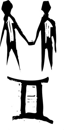 Primitivo estilo grabado signo zodiacal de Géminis. Parte de una serie. Ilustración de vector