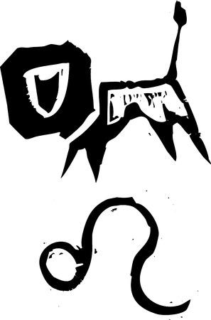 Primitivo estilo grabado signo zodiacal de Leo. Parte de una serie. Foto de archivo - 5250203