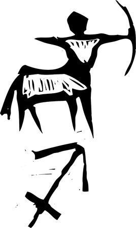 Primitive woodcut style zodiac sign of Sagittarius  . Part of a series. Vector