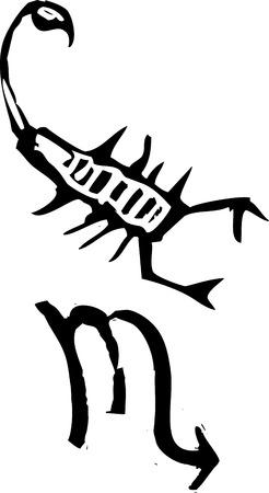 Primitivo estilo grabado signo zodiacal de Escorpio. Parte de una serie. Foto de archivo - 5250207
