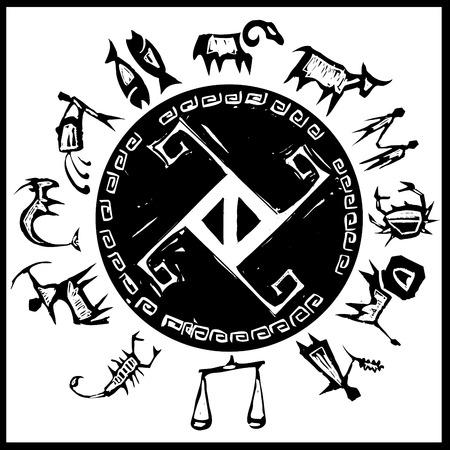 Primitivo zodiaco occidentale intorno a un centro di attraversare la progettazione. Vettoriali