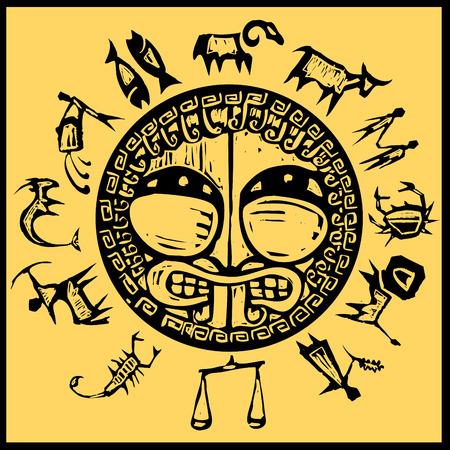 Primitive western zodiac around a center design of greek shield. Illustration