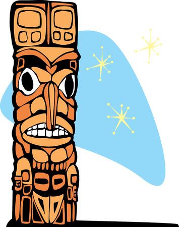 fiji: Totem met retro-look en sterren op de achtergrond.