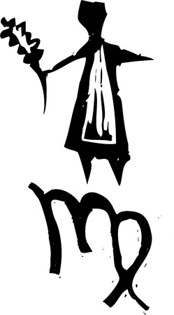 Primitive woodcut style zodiac sign of Virgo. Part of a series. Vector