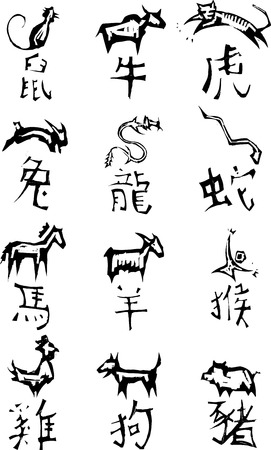 traits: Primitive woodcut style Chinese zodiac symbols. Part of a series. Illustration