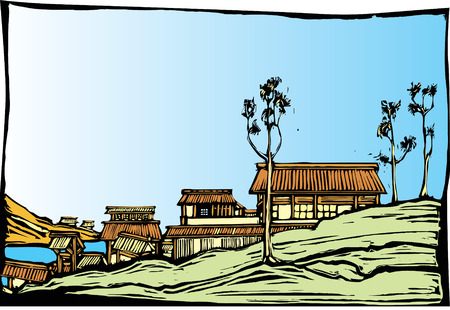 Japanese village in the style of traditional woodblock print.