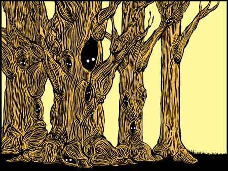 작은 숲: Grove of spooky trees in woodcut style with eyes peering from hollows.