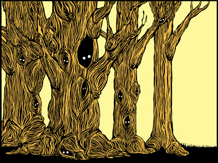 haunt:  Grove of spooky trees in woodcut style with eyes peering from hollows. Illustration
