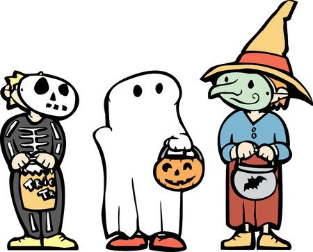 Drie jonge geitjes in Halloween kostuums en snoep zakken.
