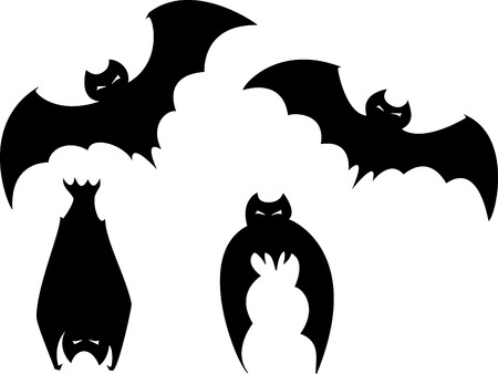 haunt: Set of four scary bats for Halloween spot images.