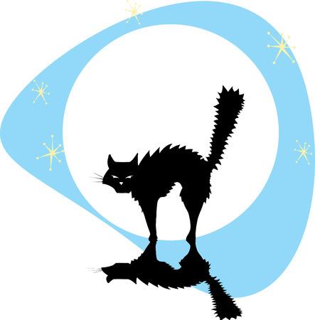 back lit: Gato negro Halloween volver iluminado por la luna llena de estrellas.
