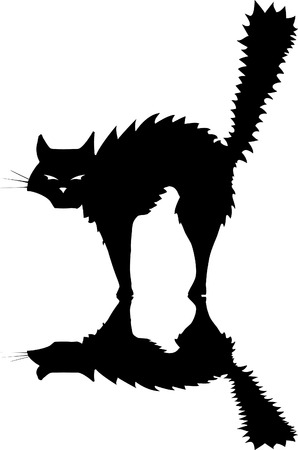 Halloween black cat raising its fur to hiss and look scary. Иллюстрация