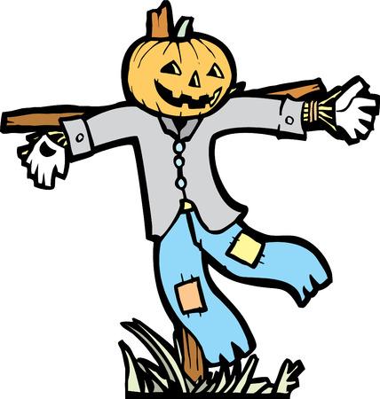 scarecrow: Espantap�jaros imagen aislada de las im�genes in situ de Halloween.
