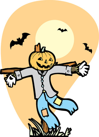 Halloween Scarecrow in Autumnal Field with bats. Vector