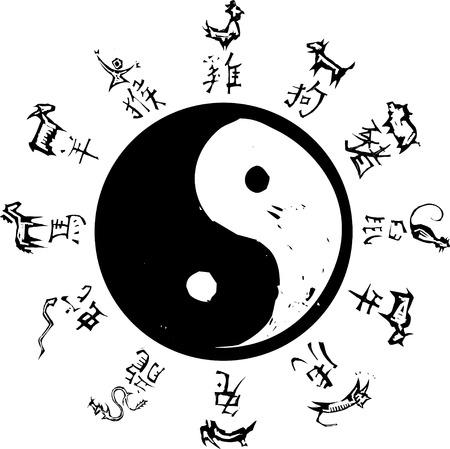 중국 조디악의 서라운드와 음과 양 타오 기호.