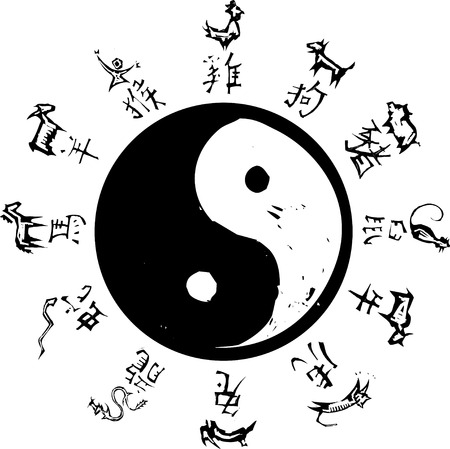 traits: Yin and Yang Tao symbol with surround of Chinese Zodiac.
