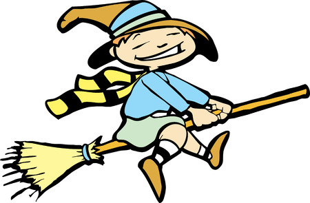 Isolated Halloween image of a young witch flying on a broom. Vector