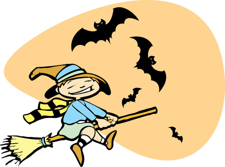 Halloween image of a young witch flying on a broom with bats. Vector