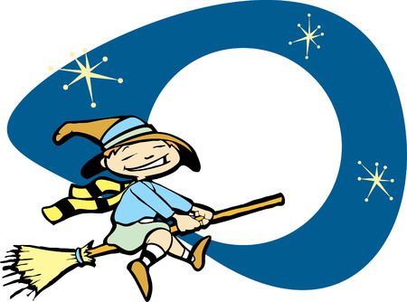 Halloween image of a young witch flying on a broom. Vector