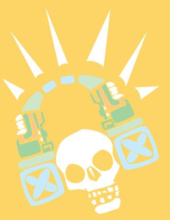 Mayan Skull spinning music and listening to headphones Vector
