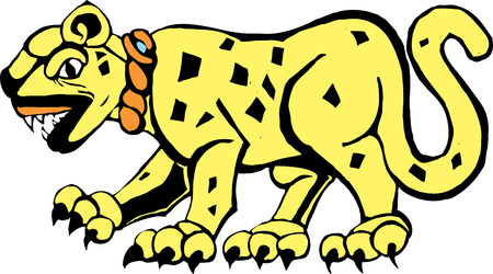 Jaguar rendered in a Mayan mural and pottery style.