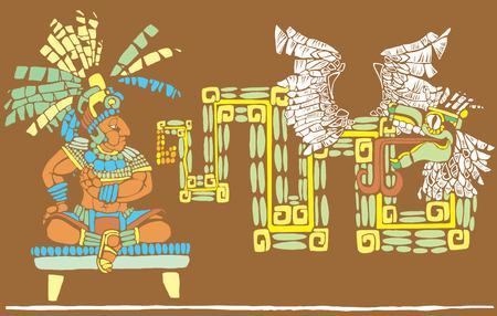 toltec: Mayan King in full regalia and Kulkulcan