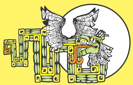 Color Mayan Kukulcan Image with circle motif.