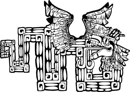Tatouage possible de Maya Kukulcan Image noir et blanc. Banque d'images - 5368953