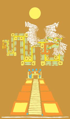 Mayan Pyramid with god Kukulcan under bright sun. Vector