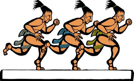 Mayan men running in a group of three. Illustration