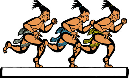 mesoamerican: Mayan men running in a group of three. Illustration