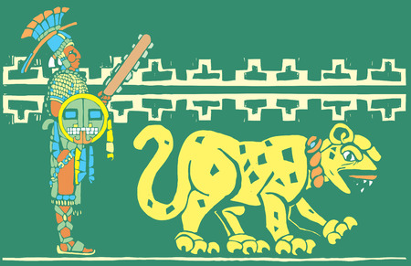 Mayan warrior in full regalia with Jaguar. Vector