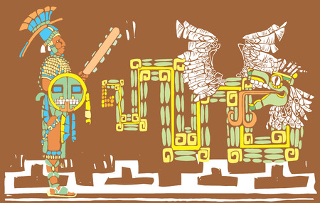 Mayan warrior in full regalia and Kulkulcan Illustration