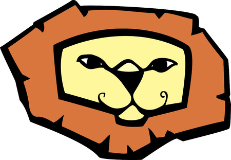 Cartoon of a stylized lions head and mane.