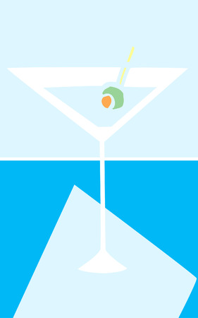 cool colors: Retro styled martini glass in cool colors.