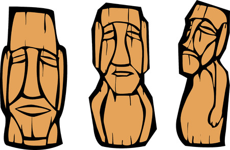 polynesia: Group of mixed styled Easter Island Moai heads. Illustration