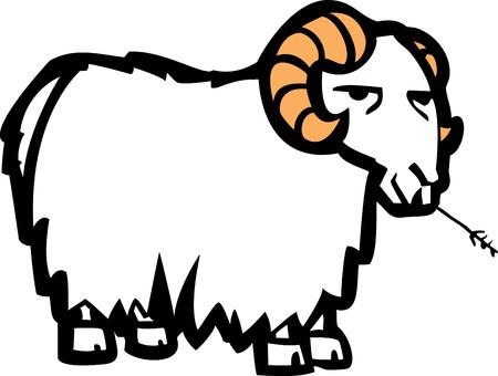 Lange wol bekleed cartoon geiten kauw op een blade van gras. Stock Illustratie