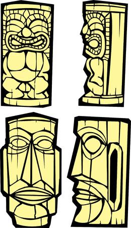 Gruppo misto di tikis laterale e frontale viste.  Vettoriali