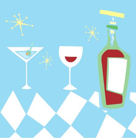 공간 연령 복고 스타일 알코올 음료의 그룹.