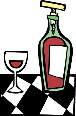 Space age retro styled wine bottle and glass. Illusztráció