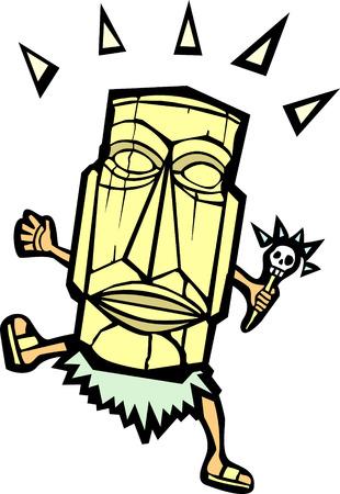 レトロなビンテージ Tiki のマスクと頭蓋骨の杖で。