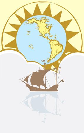 Boot drijft op een nog zee met een kaart en kompas in de achtergrond. Stock Illustratie