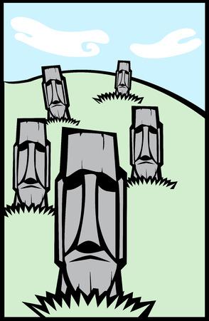 moai: Isla de Pascua Moai cabezas en una colina en un dise�o de la prensa sensacionalista.