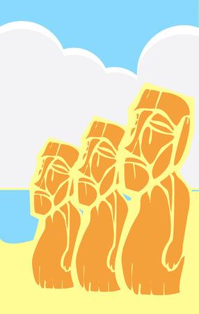tabloid: Easter Island Moai heads on a hill in a tabloid layout.